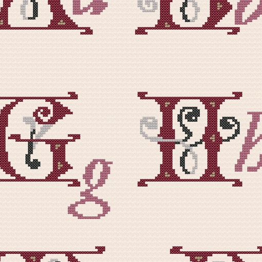 BAROQUE ALPHABET - Cross stitch kit